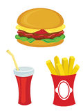 Fast food set. Hamburger, fries, drink Royalty Free Stock Photography