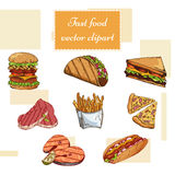 Fast food set. Hand draw illustration. Vintage burger design. Colorful american food elements Stock Photo