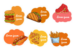 Fast food set. Hand draw illustration. Vintage burger design. Colorful american food elements. Royalty Free Stock Photo