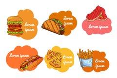 Fast food set. Hand draw illustration. Vintage burger design. Colorful american food elements. Royalty Free Stock Photo