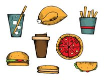 Fast food set royalty free illustration