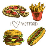 Fast food set. Hand drawn illustrations Stock Images