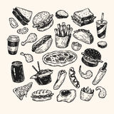 Fast Food. Fast food set. Hand drawn vector collection Royalty Free Stock Image