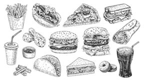 Fast food set hand drawn vector illustration. Hamburger, cheeseburger, sandwich, pizza, chicken, cola, hot dog. stock illustration