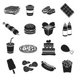 Fast food set icons in black style. Big collection fast food vector symbol stock illustration Stock Photography