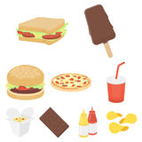 Fast food set icons in cartoon style. Big collection of fast food vector symbol stock illustration Stock Photos