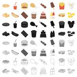 Fast food set icons. Fast food set icons in cartoon style. Big collection of fast food vector symbol stock Royalty Free Stock Images