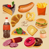 Fast food. Set of junk food. Cake, hot dog, donuts, fizzy, soda, burger, pizza, roll. Stock Photography