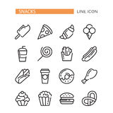 Fast food. Set of lined vector icons. Royalty Free Stock Image