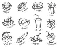 Fast food set. Monochrome illustration of fast food set Royalty Free Stock Image