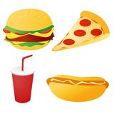 Fast food set vector. On white royalty free illustration