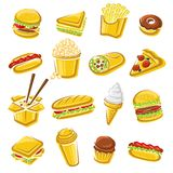 Fast food set. Vector. Illustration royalty free illustration