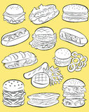 Fast food set Stock Images