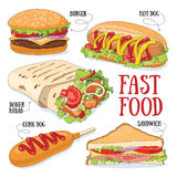 Fast food. Set of 5 fast food vector illustrations stock illustration