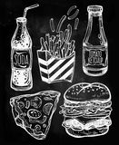 Fast food set vintage linear style. Stock Photo