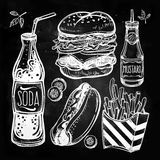 Fast food set vintage linear style. Royalty Free Stock Photography
