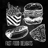 Fast food set vintage linear style. Royalty Free Stock Photos