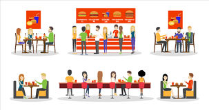 Fast food set. Fast food set with visitors, menu and kitchen. Burgers and drinks. Chefs making fries Royalty Free Stock Photo
