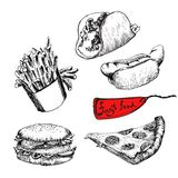 Fast food. Set wektorowa ilustracja Zdjęcie Royalty Free
