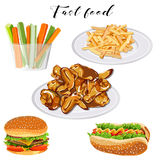 Fast food set on a white background. Vector Stock Photography