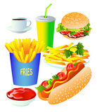 Fast food set,  on white background. Vector illustration Royalty Free Stock Images