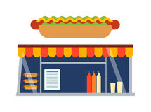 Fast food shop showcase ector illustration. Royalty Free Stock Image