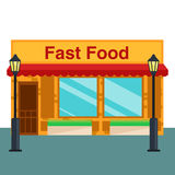 Fast food shop, store front flat style. Vector illustration Royalty Free Stock Image