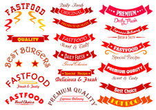Fast food sign set with ribbon banner and header Stock Images
