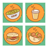 Fast food signs set, flat design. Soup, coffee, hamburger and falafel icons. Vector illustrations Stock Photography