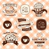 Fast food signs set Royalty Free Stock Photography