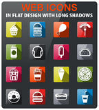 Fast food simply icons. Fast food icons set in flat design with long shadow Stock Photo