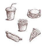 Fast Food Sketch Royalty Free Stock Photography