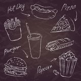Fast food sketch on a dark background Stock Photo