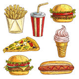 Fast food sketch icons set Stock Photo