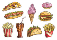 Fast food sketch isolated icons Royalty Free Stock Photography