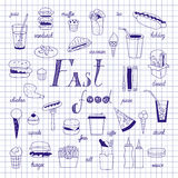 Fast food sketch. On notebook sheet. Big vector set. Burgers, sandwiches, hotdogs and drinks hand-drawn Stock Images