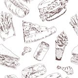Fast food sketch seamless Stock Photography