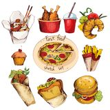 Fast food sketch set Stock Photography