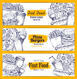 Fast food sketch vector banners set Royalty Free Stock Image