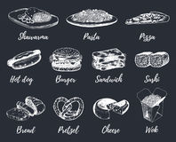 Fast food sketches vector set. Hand drawn international cuisine icons for snack bar menu, street cafe chalkboard etc. Quick meal illustrations Royalty Free Stock Image