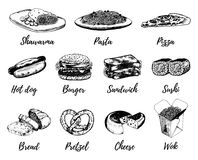 Fast food sketches vector set. Hand drawn international cuisine icons for snack bar menu, street cafe chalkboard etc. Quick meal illustrations Stock Photography