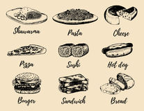 Fast food sketches vector set. Hand drawn international cuisine icons for snack bar menu, street cafe chalkboard etc. Quick meal illustrations Royalty Free Stock Photo