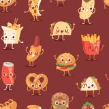 Fast food smile vector cartoon expression characters of hamburger or cheeseburger with fast-food emotion of burger or. Hot dog emoticon icons and soda drink Stock Photos