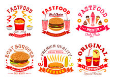 Fast food snack, dessert menu signs, icons set Royalty Free Stock Images