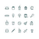 Fast food and snack thin line vector icons set Stock Photos