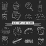 Fast Food and Snacks Big Icons Set Stock Photos