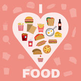Fast Food and Snacks Big Icons Set Royalty Free Stock Photo