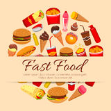 Fast food snacks and desserts vector poster Stock Image