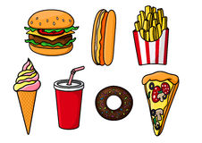 Fast food snacks, drink and desserts Stock Photos