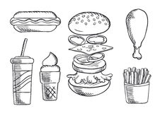Fast food snacks and drink sketch icons Royalty Free Stock Photo